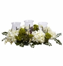 "9.5"" Artificial Snowball Hydrangea Triple Candelabrum Centerpiece"