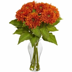 "22.5"" Sunflower Arrangement with Vase - Orange"