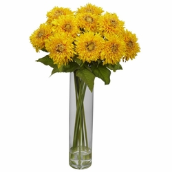 "27"" Sunflower with Cylinder Silk Flower Arrangement"