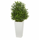 """33"""" Sweet Grass Artificial Plant in White Tower Planter (Indoor/Outdoor)"""