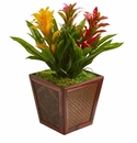 Triple Bromeliad Artificial Plant in Decorative Planter - Assorted