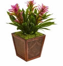 Triple Bromeliad Artificial Plant in Decorative Planter - Purple