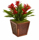 Triple Bromeliad Artificial Plant in Decorative Planter - Red