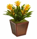 Triple Bromeliad Artificial Plant in Decorative Planter - Yellow