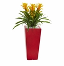 Triple Bromeliad Artificial Plant in Red Planter - Yellow