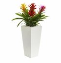 Triple Bromeliad Artificial Plant in White Tower Planter - Assorted