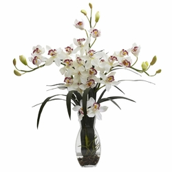 "29"" Triple Cymbidium Orchid in Vase Arrangement - White"