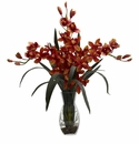 "29"" Triple Cymbidium Orchid in Vase Arrangement - Burgundy"