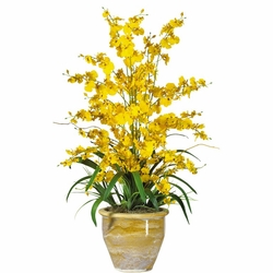 "32"" Triple Dancing Lady Silk Flower Arrangement - Yellow"