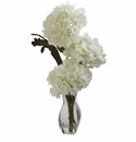 "28"" Triple Hydrangea Silk Flower Arrangement with Vase"