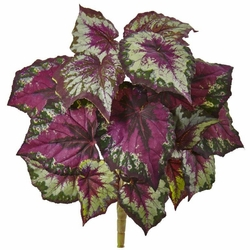 "16"" Wax Begonia Artificial Bush (Set of 6) - Non Potted"