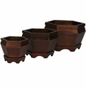 Wooden Hexagon Decorative Planter (Set of 3)