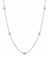 0.50 cttw Diamond and Pink Sapphire Station Necklace