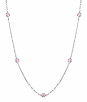 0.50 cttw Pink Sapphire Station Necklace