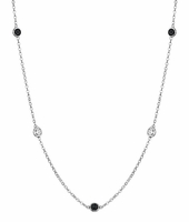 Women's Necklace with Black Diamonds and White Diamonds