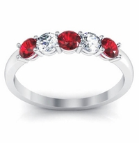 0.50 cttw Ruby and VS Diamond 5 Stone Ring