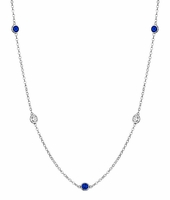 0.50 cttw Blue Sapphire Gemstone Station Necklaces