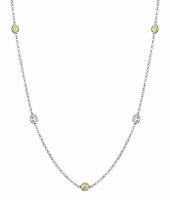 Yellow Sapphire and SI Diamond Station Necklace