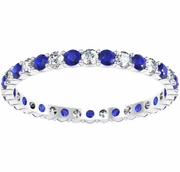 0.70cttw Diamond and Blue Sapphire Eternity Ring