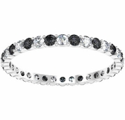 0.70cttw Black and White Diamond Eternity Wedding Ring