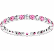0.70cttw Diamond and Pink Sapphire Eternity Band