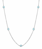 Station Necklace with Aquamarine