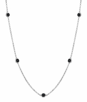 Station Style Black Diamond Necklace