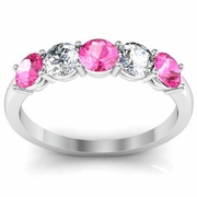 1.00 cttw Pink Sapphire and SI Diamond 5 Stone Ring