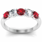 1.00 cttw Ruby and SI Diamond 5 Stone Ring