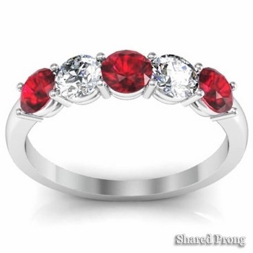 1.00 cttw Ruby and SI Diamond 5 Stone Ring - click to enlarge