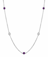 String of Amethysts and SI Diamonds in by the Inch Style
