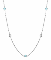 Station Necklace with SI White Diamonds and Aquamarines