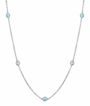 Station Necklace with SI White Diamonds and Aquamarines - click to enlarge