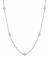 Aquamarine and VS Diamond Bezel Necklace