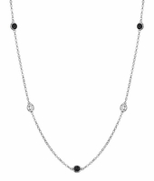 String of Black and VS White Diamond Bezels Necklace