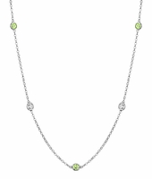 Peridot and I1 Diamond Bezel Strand Necklace