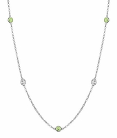 Peridot and SI Diamond String Necklace