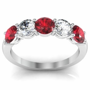 1.50 cttw Ruby and VS Diamond 5 Stone Ring