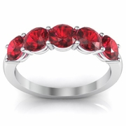 1.50cttw Ruby Wedding Ring Round Brilliant Cut