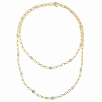 """1.60cttw Diamond and Yellow Gold Handmade 36"""" Necklace"""