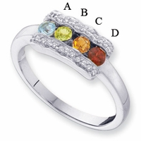 14 Karat Gold Mother's Birthstone Ring with Diamonds and 4 Birthstones