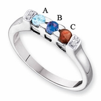 14 Karat Gold Mother's Birthstone Ring with Diamonds and Birthstones