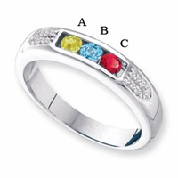 14 Karat Gold Mother's Birthstone Ring with Engraving and 3 Gemstones