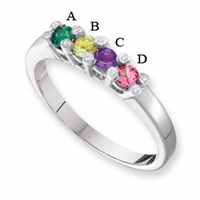 14 Karat Gold Mother's Ring with Four Birthstones