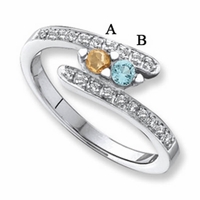 14 Karat Gold Personalized Mother's Ring with 2 Natural Birthstones