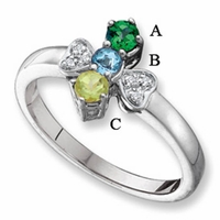 14-Karat Gold Personalized Mother's Ring with 3 Natural Birthstones