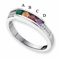 14 Karat Gold Personalized Mother's Ring with Four Birthstones