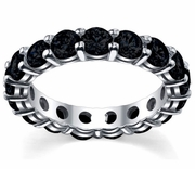 Round Brilliant Black Diamond Eternity Ring 4.00cttw