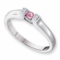 14k Bar Set Mother's Ring with One Genuine Birthstone and Diamonds