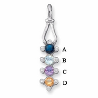 14k Bezel Set Mother's Pendant with Four Genuine Birthstones